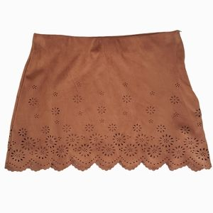 Zara vegan suede cut out mini skirt brown small